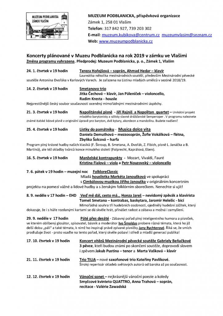 Koncerty 2019, zámek Vlašim